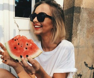hair, happy, and watermelon image
