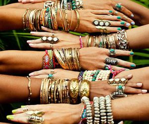 bracelet, rings, and hands image