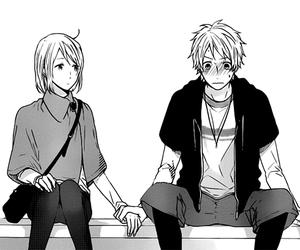 manga, black and white, and girl image