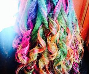 hair, rainbow, and cute image