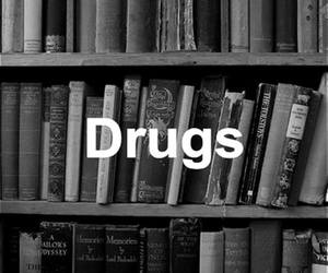 book, drugs, and black and white image