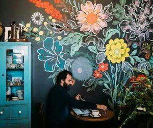 flowers, art, and man image