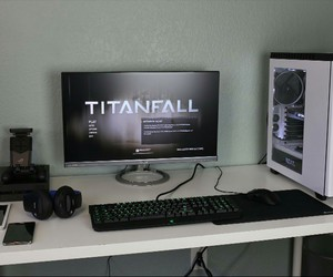 black, computer, and monitor image