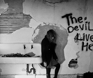 grunge, Devil, and black and white image