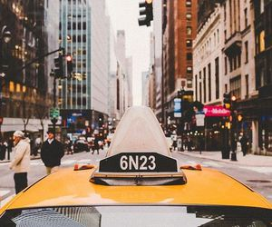 cab, city streets, and nyc image
