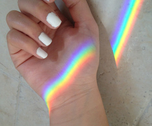 rainbow, nails, and white image