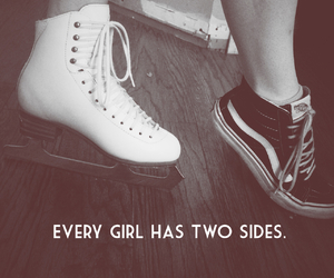 black and white, girly, and ice skate image