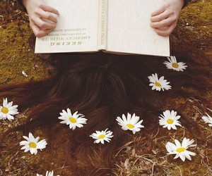 book, flowers, and hair image