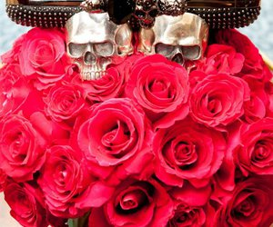 rose, fashion, and skull image
