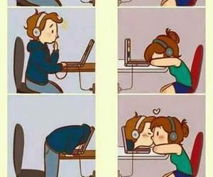 erkek, bilgisayar, and Öpücük image