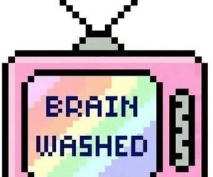 tv, brain washed, and brain image