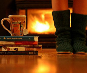 books, winter, and fireplace image
