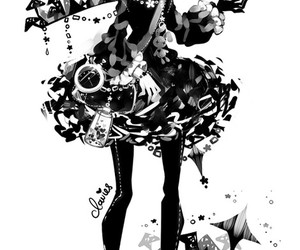 anime, black and white, and clavies image