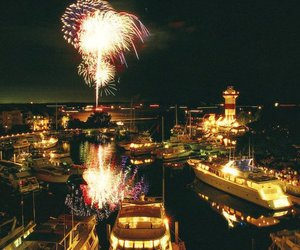 fireworks, ocean, and yachts image