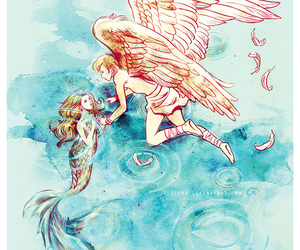 angel, mermaid, and love image