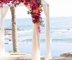 flowers, beach, and wedding image