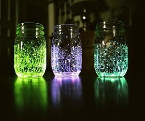 light, jar, and green image