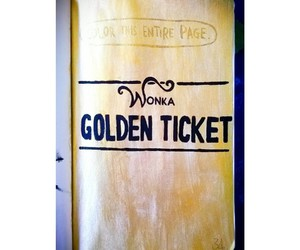 gold, ticket, and wonka image