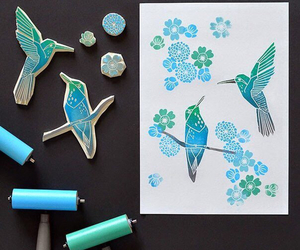 art, birds, and mint image