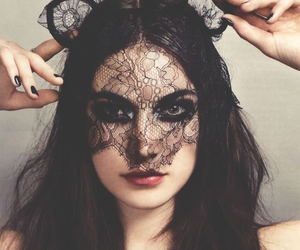black, cat ears, and lipstick image