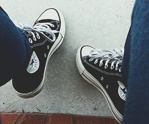 black and white, chuck taylors, and arsty image