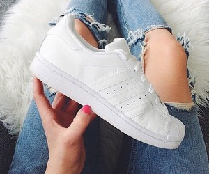 white, adidas, and jeans image