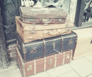 luggage, suitcases, and vintage image