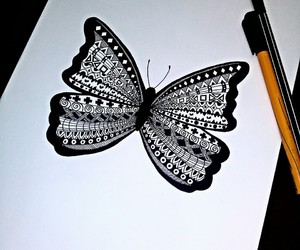 butterfly, art, and black & white image