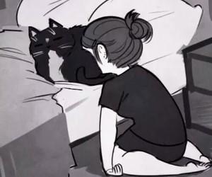 black, cats, and dark image
