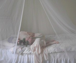 girl, bed, and pale image