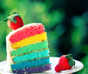 cake, rainbow, and strawberry image