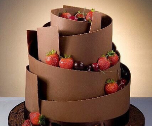 cake, chocolate, and strawberries image