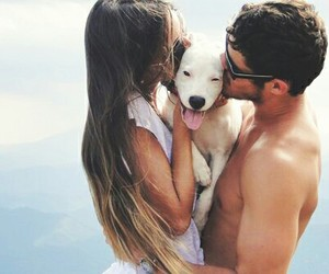 love, dog, and couple image