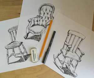 blackandwhite, chair, and illustration image