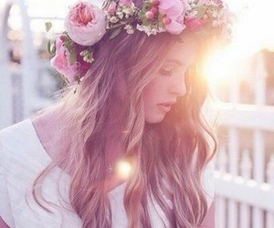 flowers, hair, and sun image