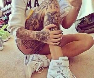 tattoo, nike, and body image