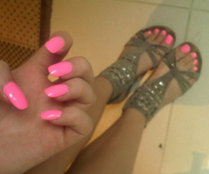 black, nails, and neon pink image