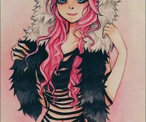 girl, pink, and panda image