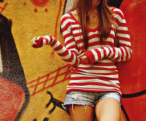 fashion, girl, and red image