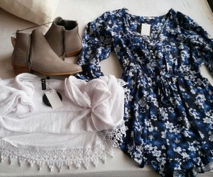 boots, cloths, and floral image