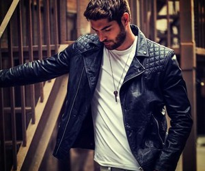 guys, handsome, and leather image
