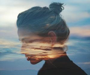 girl, sky, and hair image