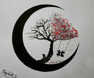 art, moon, and tree image