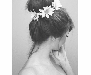 black and white, girl, and bun image