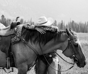black and white, cowboy, and horse image