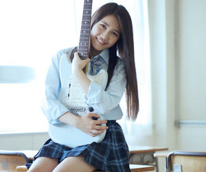 girl, guitar, and school image