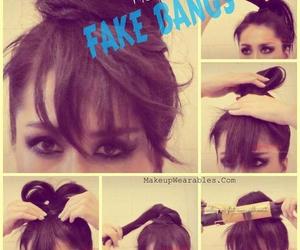 hair, bangs, and fake image