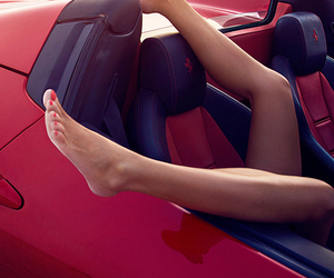 red, car, and luxury image