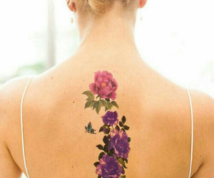 back, flower, and tattoo image