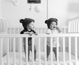 babies, blackandwhite, and brothers image